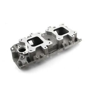 Small Block Chevy Dual Twin Carb Quad Aluminum Intake Manifold Satin 327 350 383