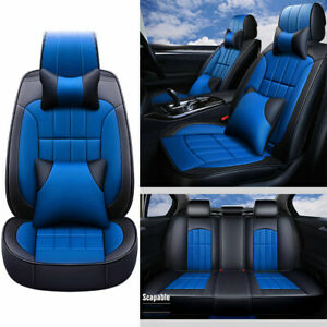 Car Seat Cover Pu Leather 5 Seats Size L Front Rear Cushion W Pillows Us Stock