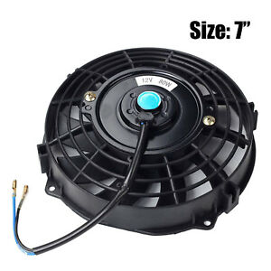 7 Inch Universal Slim Fan Push Pull Electric Radiator Cooling 12v Mount Kit Bk