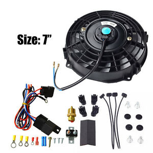 7 Electric Radiator Cooling Fan 3 8 Probe Ground Thermostat Switch Kit Black