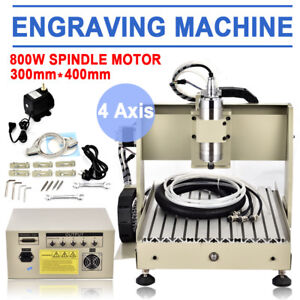 800w Cnc Router Engraver Engraving Cutter 4 Axis 3040 Ball Screw Desktop Cutting