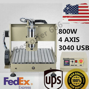 800w 4 Axis 3040 Usb Cnc Router Engraver Engraving Cutter Desktop Cutting Mach3
