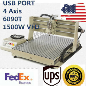 Usb Port 4 Axis 6090t 1500w Vfd Cnc Router Engraver Milling Machine Metalworking