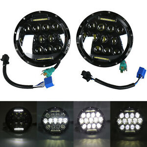 Pair 7 Inch 75w Led Headlight Hi Lo Beam Drl Fit Jeep Wrangler Cj Jk Lj 97 17