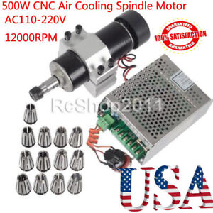 110 220v 500w Cnc Air Cooling Spindle Motor 52mm Holder Speed Governor Er11