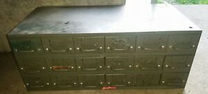 Vintage Equipto Industrial Metal 18 Drawer Steel Parts Storage Organizer Cabinet
