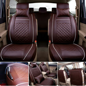 Car Seat Cover Pu Leather 5 Seat Car Front Rear Pillows Full Set Size L Coffee