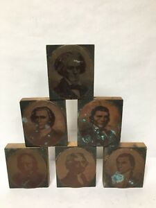 6 Pc Letterpress Photo Print Block Ormsbee Engraving Ny Portrait Copper Wood