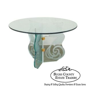 Contemporary Phoenix Etched Round Glass Dining Table Possibly Pace
