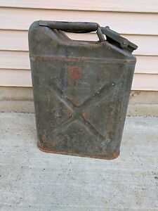 Vintage Us Military 5 Gallon Jerry Water Gas Fuel Can