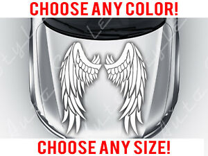 Angel Wings Car Mirrored Feather Hood Decal Vinyl Sticker Custom Any Size Color