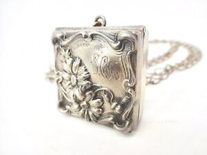 Antique George Webster Art Nouveau Sterling Silver Chatelaine Stamp Box W Chain
