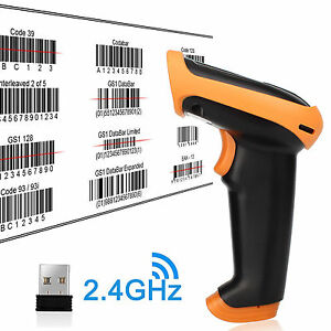 500m Wireless Cordless Portable Barcode Scanner Reader Usb Charging Cable Usa