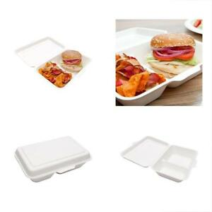 Bagasse Plates Take Out Container To Go Box Clamshell Durable All Natural 2