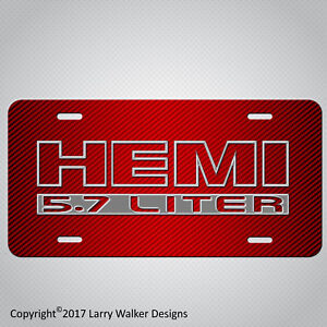 Hemi 5 7 Silver On Simulated Red Carbon Fiber Look Aluminum License Plate Tag