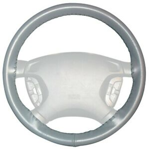 Wheelskins Gray Genuine Leather Steering Wheel Cover For Chevy size Axx