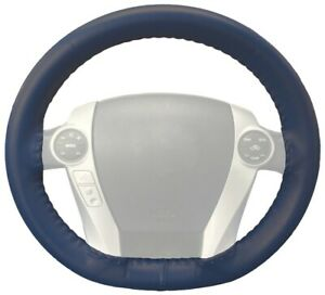 Wheelskins Blue Genuine Leather Steering Wheel Cover For Cadillac size Ax