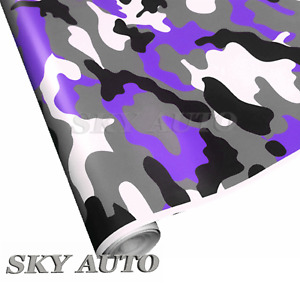 Purple Black White Gray Camouflage Vinyl Car Wrap Sheet Free Tools 2 Feet Up