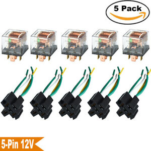 60a Relays With Socket Wired 12v Waterproof Relay On Off Control 5 pin Spdt Us