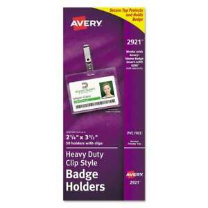 Avery Secure Top Clip style Badge Holders Horizontal 2 1 4 X 3 072782029210