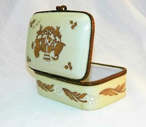 Antique French Porcelain Box Hinged Hand Painted Coat Of Arms Signed 4