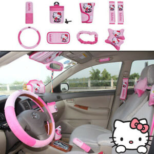 10pcs Set Cute Cartoon Mickey Hello Kitty Car Seat Cover Interior Accessories Ne