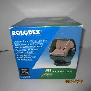 Rolodex Nsw 35c Covered Rotary Swivel Card File 3 X 5 Index Cards Black Smokey