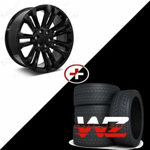 22 Ck156 Style Gloss Black Rims W Tires Gmc Style Fits Chevy Yukon Sierra