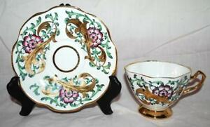 Rosina Bone China Made In England Gold Floral Filigree Tea Cup And Saucer