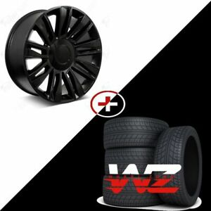 26 2018 Style Black W Gloss Black Wheels Tires Fits Cadillac Escalade Esv Ext