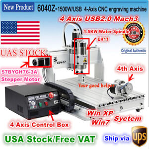 usa usb Mach3 4 Axis 6040 1 5kw 1500w Cnc Router Engraving Milling Machine 110v