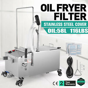 58l Fryer Oil Filter Machine Frying Oil Filtration System W Stainless Steel Lid