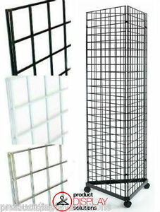 2 X 6 Grid Gridwall Triangle Tower Display With Casters Black White Or Chrome