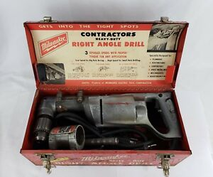 Vintage Milwaukee Heavy Duty 1 2 Right Angle Drill Corded With Case 1000 1