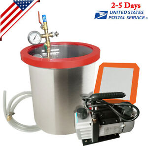 5 Gallon Stainless Vacuum Chamber Degassing 3cfm Pump On off Switch Heavy duty