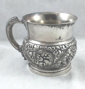 Barbour Bros Co Quadruple Silver Plate Repoussed Baby Cup