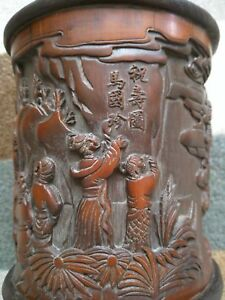 Chinese Antique Bamboo Carved Brush Pot With Signed Mark Qing Dynasty