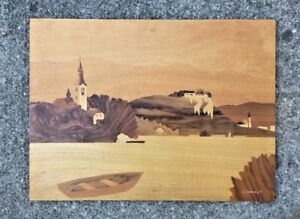 Vtg Wood Inlay Marquetry Europe Seascape Wall Hanging Signed 21x16