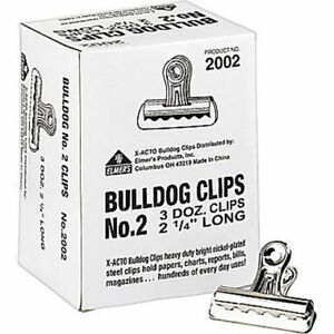 X acto Bulldog Clips 1 2 Capacity 2 1 4 Wide 36 bx Clip Loose Papers