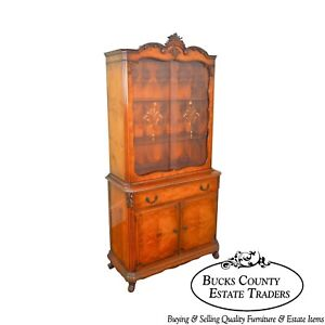 French Louis Xv Style 1930s Burl Wood Etched Glass China Cabinet By Saginaw