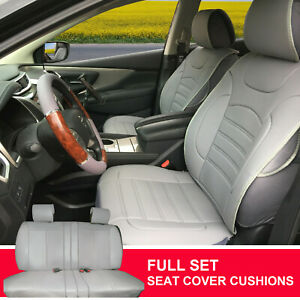 Pu Leather Suede Full Car Seat Cushion Covers Compatible To Suv Bucket 803551 Bk