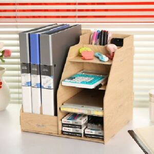 Office Desk Wood Organizer Paper Tray Letter File Holder Storage Document Tier