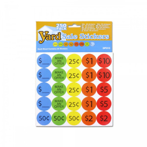 250 Piece Yard Sale Pricing Stickers Op313