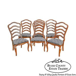 French Country Style Set Of 6 Ladderback Dining Chairs