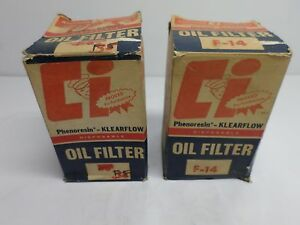 Vintage Klearflow Auto Oil Filters Never Used Nos Lot Of Two 2