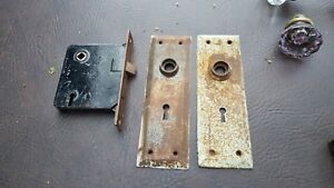 Antique Vintage Victorian Door Lock Sets Hardware W Plates