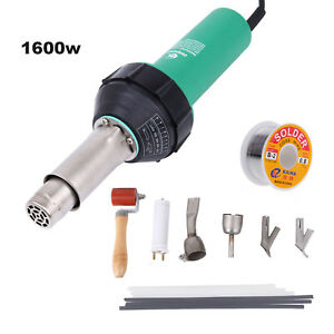1600w Hot Air Gas Plastic Welder Welding Gun 4 Nozzles Rods Set Wire Reel