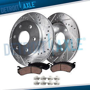 Front Slotted Drilled Brake Rotors Pads For Chevy Gmc K1500 K2500 Pickup 6lug