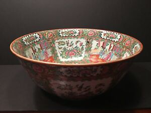 Antique Chinese Rose Medallion Punch Bowl 16 Late 19th C