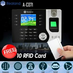 Realand Biometric Fingerprint Time Attendance Clock Tcp ip Usb Free 10 Rfid Card